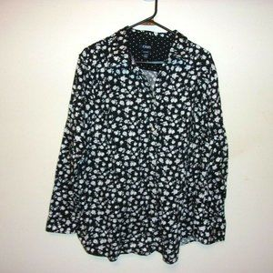 Chaps Black and White Floral No Iron Top 1X